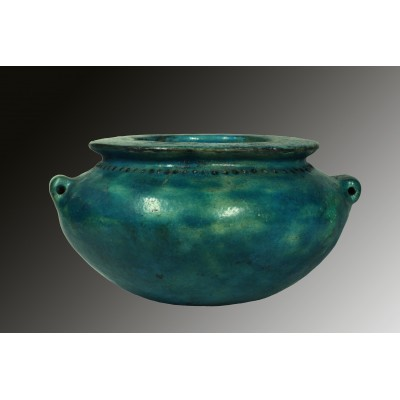 Ptolomaic blue faience pot
